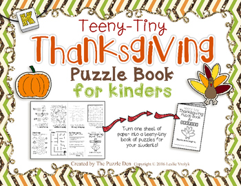 Teeny-Tiny Thanksgiving Puzzle Book for Kinders