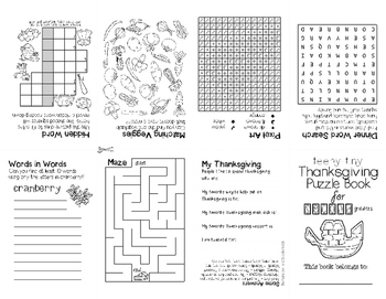 Teeny-Tiny Thanksgiving Puzzle Book for Second Grade