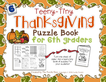 Teeny-Tiny Thanksgiving Puzzle Book for Sixth Grade