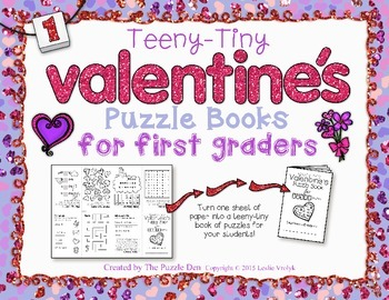 Teeny-Tiny Valentine's Puzzle Book for First Graders