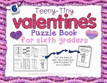 Teeny-Tiny Valentine's Puzzle Book for Sixth Graders