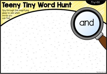 Teeny Tiny Word Hunt - High Frequency Sight Words Magnifying Glass Activity