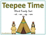 Teepee Time AT - AN - AP - AM Word Family Sort Game
