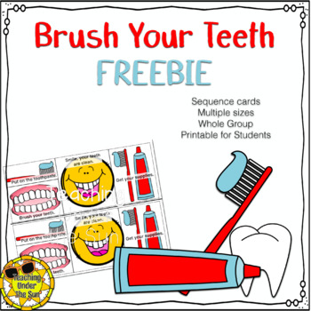 photo relating to Sequence Cards Printable referred to as Enamel Brushing Collection Dental Physical fitness FREEBIE No Prep