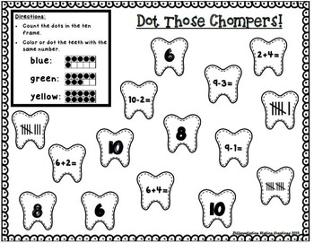 Teeth & Dental Health: NO PREP Math Printables