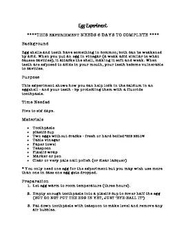 Teeth Enamel Egg Experiment and Student Sheet