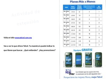 Telcel of Mexico.  Spanish reading comprehension and conversation with realia