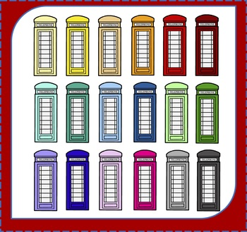 Telephone Booths Clipart / Telephone Clipart / London Clipart / Travel Clipart