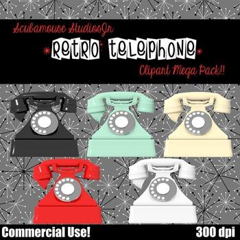 Telephone Clipart, Retro Pyramid Telephone-Set of 5