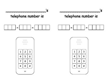 Telephone Number Practice Sheets