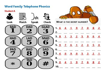 Telephone Phonics Speaking and Dictation Activity