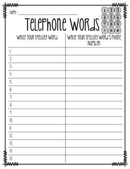 Telephone Spelling Words