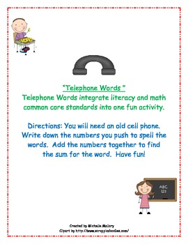 Telephone Words (Dolch Pre-primer)