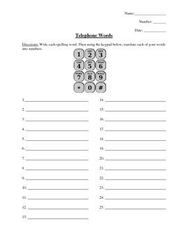 Telephone Words Spelling Practice