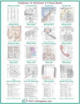 Telephones 16 Worksheet- 4 Exam Bundle