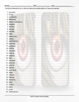 Telephones Translating Spanish Worksheet