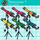 Rainbow Telescope Clip Art {Astronomy Graphics for Solar System Resources} 1