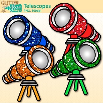 Rainbow Telescope Clip Art {Astronomy Graphics for Solar System Resources}