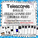 Telescopes, EMS & astronomy/space- Informational text, Jigsaw activity & answers