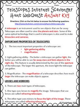 Telescopes Internet Scavenger Hunt WebQuest Activity