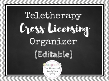 Teletherapy Cross Licensing Organizer Editable