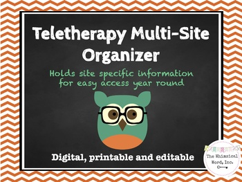 Teletherapy Multi-Site Organizer Editable Printable Resource