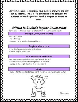 Television Commercial Media Assignment Grades 4-8