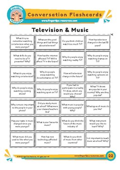 Television & Music - Conversation Flashcards