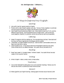 """ESL """"Tell How to..."""" Exercises for Oral Expression"""