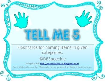 Tell Me 5 - Naming items in categories - FREEBIE