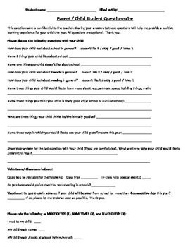 Tell Me About Your Child Questionnaire
