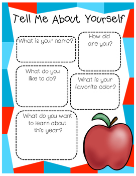 Tell Me About Yourself | First Day of School Activity