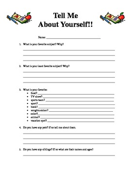 tell me about yourself worksheet by erin fahey tpt