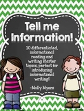 Tell Me Information - Informational Reading and Writing Wo