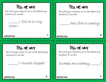 Tell Me Why - Language Review Task Cards