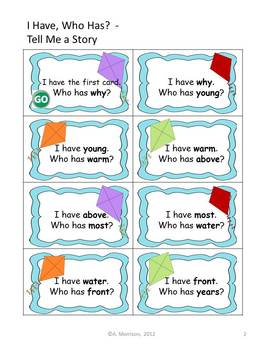 """Tell Me a Story """"I HAVE, WHO HAS?"""" Sight Word Practice for Harcourt Trophies"""