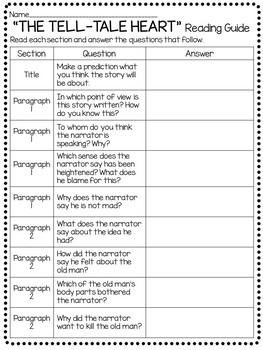 Tell-Tale Heart Activity Packet Reading Comprehension  Worksheets- Poe