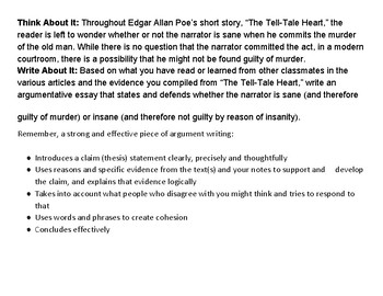 Tell-Tale Heart Argument Writing