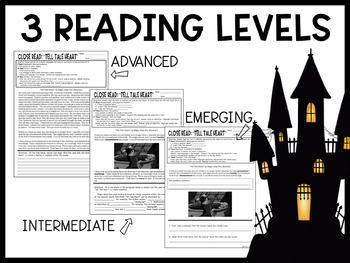 """""""Tell Tale Heart"""" Differentiated Close Read- Explore Poe's Use of Tone and Mood!"""