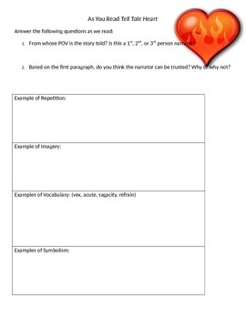 Tell Tale Heart Literary Worksheet