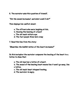 Tell Tale Heart by Edgar Allan Poe Common Core Multiple Choice Questions