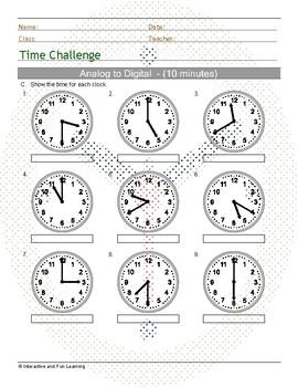 Tell Time Challenge - Analog to Digital