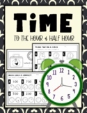 Telling Time: Hour and Half Hour Worksheets & Scoot Activity