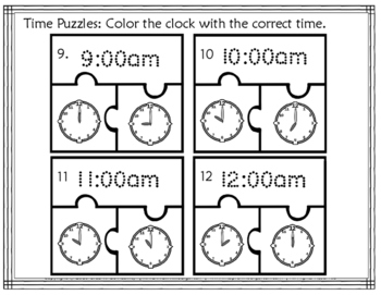 Tell Time Puzzles (Grab-n-Go)