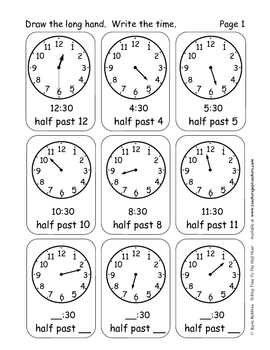 Tell Time To The Half Hour