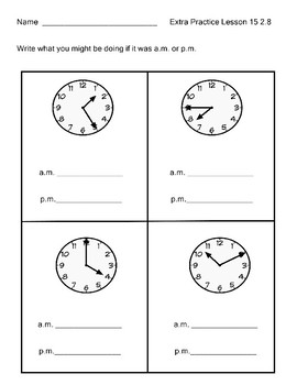 Tell Time to 5 Minutes Use am & pm  Engage NY  Module 8  Lesson 15 2.8