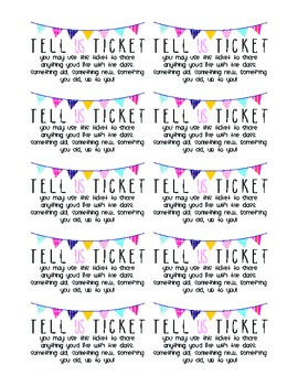 Tell Us Ticket for Show and Tell Sharing