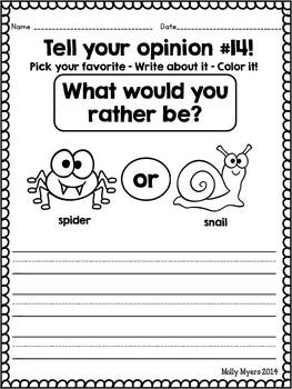 Tell Your Opinion - Introducting Kindergarten Opinion Writing Worksheets