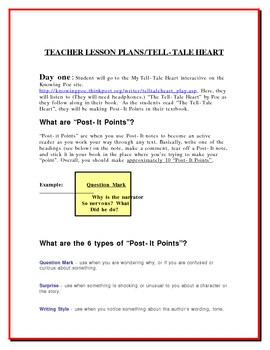 Tell-Tale Heart Active Reading/Post-It Notes/Discussion & More