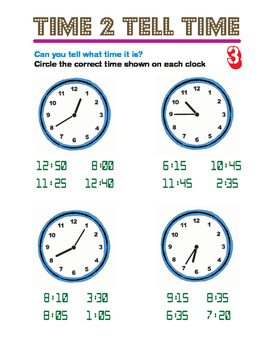 Tell the time - Full Activity board